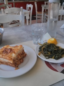 Pastitsio and greens